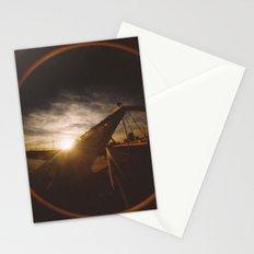 Golden sunset, bridge and birds Stationery Cards