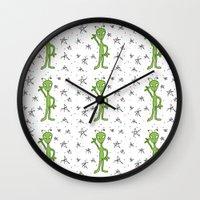 aliens Wall Clocks featuring Aliens by Bohemian Bear by Kristi Duggins