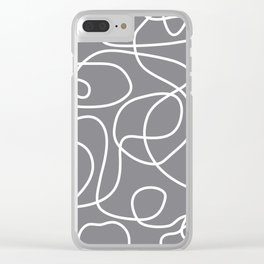 Doodle Line Art | White Lines on Gray Clear iPhone Case