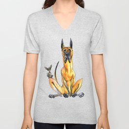 Great Dane and Chihuahua Unisex V-Neck