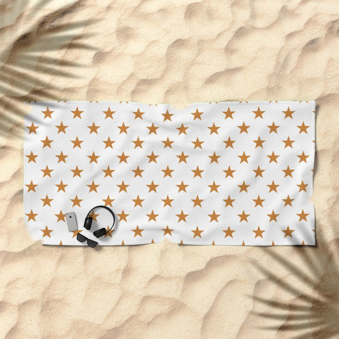 Stars (Bronze/White) Beach Towel