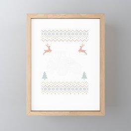 Tractor Ugly Sweater Farming Farmer Christmas Gift Framed Mini Art Print