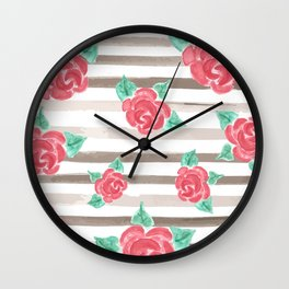 Stripes and Roses // Watercolor Wall Clock