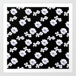 Flowers - White and Lilac Art Print