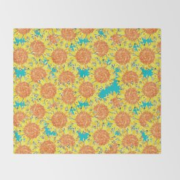 sunflower field Throw Blanket