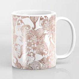 Vintage Faux Rose Gold Rustic Floral Drawings Coffee Mug
