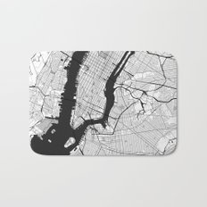 New York Map Gray Bath Mat