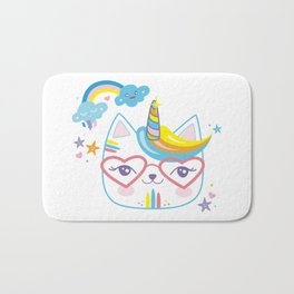 caticorn unicorn crazy cat lady unicat gift kawaii tee shirt Bath Mat