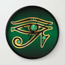 Eye of Ra Emerald Wall Clock