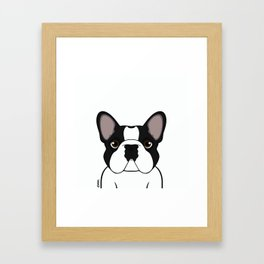 Frenchie - Brindle Pied Framed Art Print