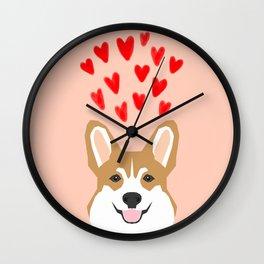 Valentines - Love Corgi  Wall Clock