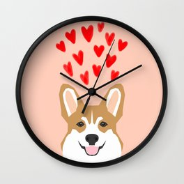 Valentines - Love Corgi  Wall Clock