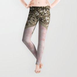Shimmering golden chevron pink marble Leggings