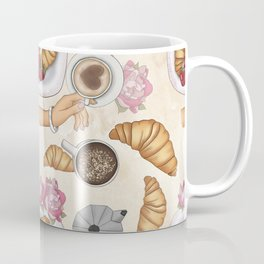 Good Morning Strawberries, Croissants And Coffee Pattern Coffee Mug