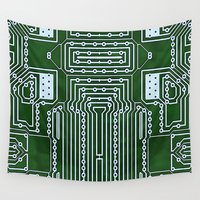computer Wall Tapestries featuring Computer Geek Circuit Board Pattern by Lola Capricola