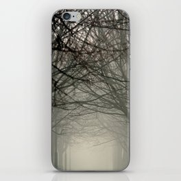 Branches meeting in the fog iPhone Skin