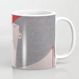 Art Deco Lady Wearing Red Hat Coffee Mug