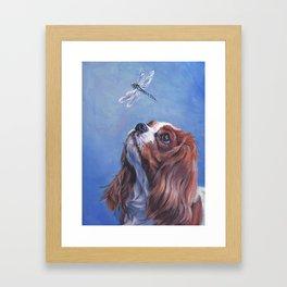 Beautiful Blenheim Cavalier King Charles Spaniel Dog Painting by L.A.Shepard Framed Art Print