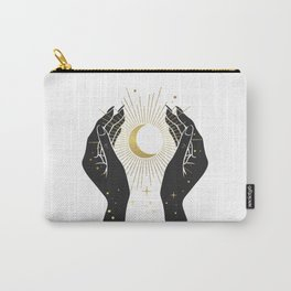 Mystic 94 Minimalist Magical Black Hands Moon Stars Astrological Signs Bohemian Boho Style Carry-All Pouch