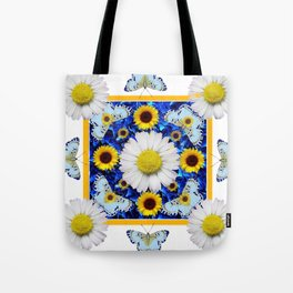 EVERYTHING'S COMING UP DAISIES & BUTTERFLIES  BLUE  ART Tote Bag