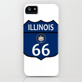 Route 66 Illinois Sign And Flag iPhone Case