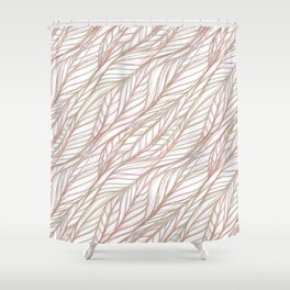 Woven Pink and Green Leaves Shower Curtain