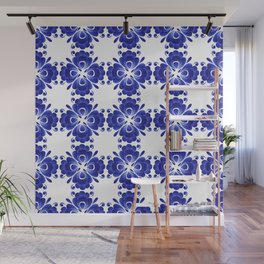 Gzhel style ornament of blue stylized flowers Wall Mural