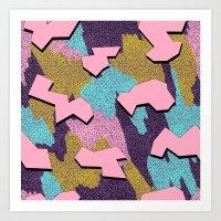 Memphis Pattern - Pink Art Print