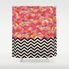 Chevron Flora Shower Curtain