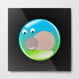 Happy snail caught in the spotlight Metal Print