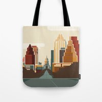 austin Tote Bags featuring Austin Skyline by Kurtis Beavers