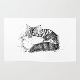 Maine Coon Cat - Pen and Ink Rug