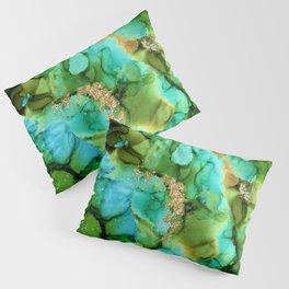Green And Turquoise Aqua Mermaid Alcohol Ink Pillow Sham