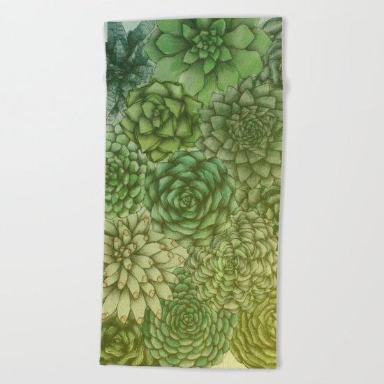 Hazy Succulents Beach Towel