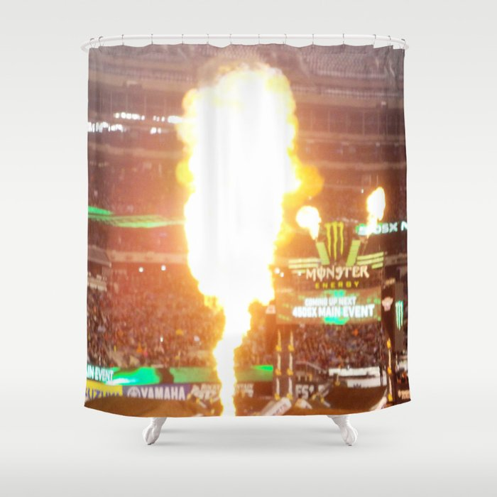 Bon MX Supercross Explosive Fire Shower Curtain