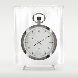Silver Pocket Watch Shower Curtain