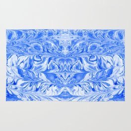 Hashi - indigo blue spilled ink abstract painting modern monochromatic home decor dorm college art Rug