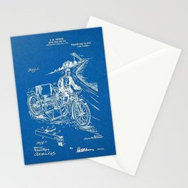 1913 Oeknow Motorcycle sidecar patent Stationery Cards