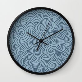 Japanese-Inspired Blue on Blue Waves Pattern Wall Clock