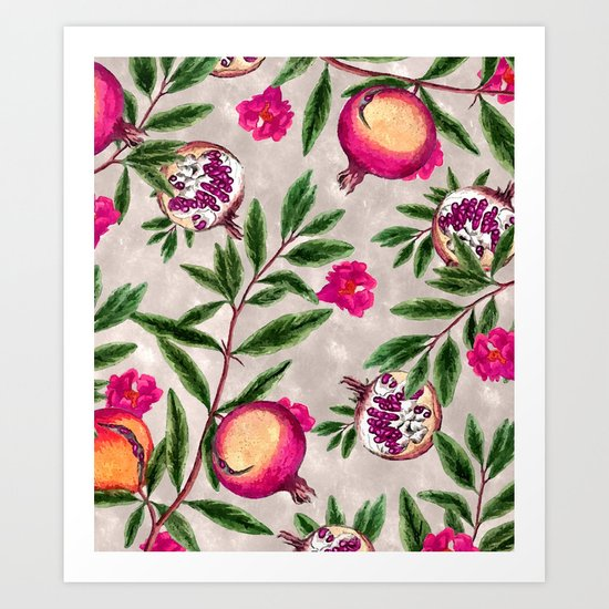 Pomegranate Pattern #society6 #decor #buyart Art Print