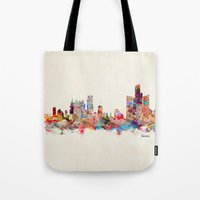 detroit Tote Bags featuring detroit michigan by bri.buckley
