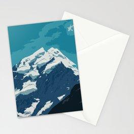 Aoraki Mount Cook glacier summit in summer Stationery Cards
