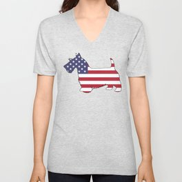 "Scottish Terrier ""American Flag"" Unisex V-Neck"