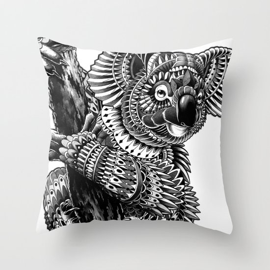 Ornate Koala Throw Pillow