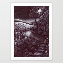 La luna sulla capitale Art Print