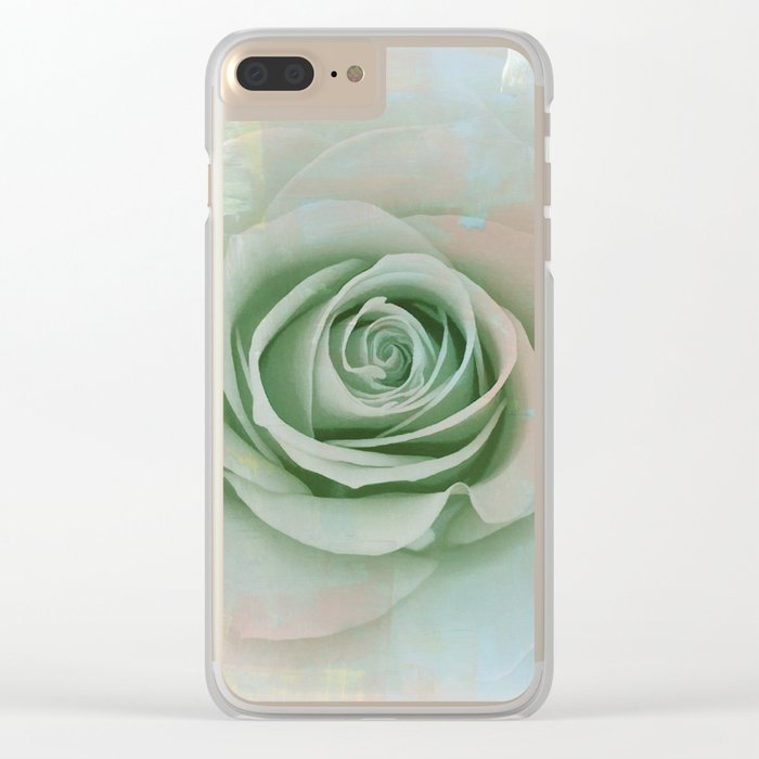 Elegant Painterly Mint Green Rose Abstract Clear iPhone Case