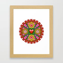 Emoji Flower Mandala Framed Art Print