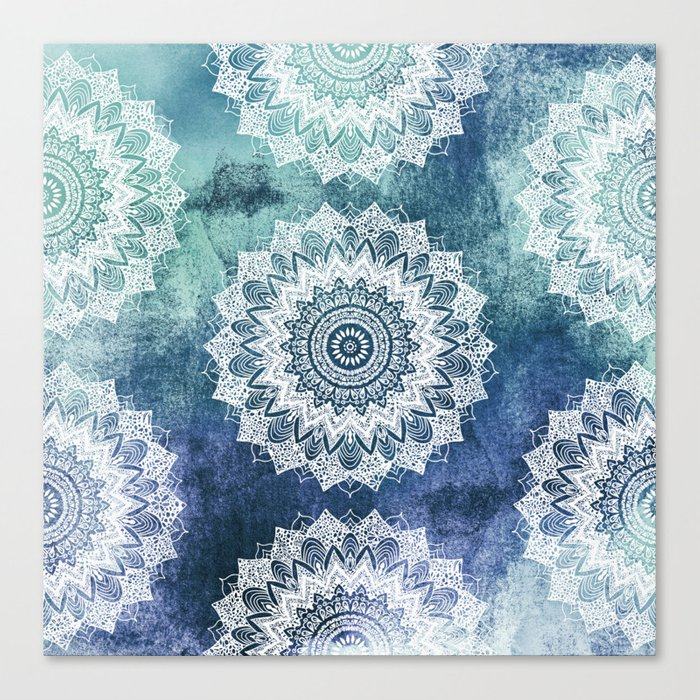 BOHOCHIC MANDALAS IN BLUE Canvas Print