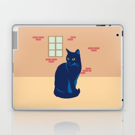 Black cat on the street Laptop & iPad Skin
