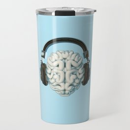 Mind Music Connection /3D render of human brain wearing headphones Travel Mug